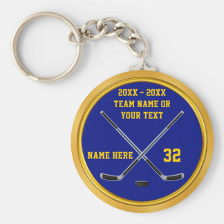 Blue and Gold Hockey Keychain Gifts PERSONALIZED