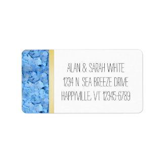 Blue and Gold Hydrangea Return Address Labels