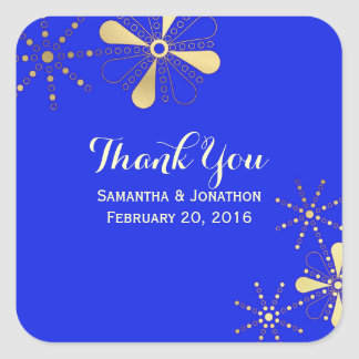Blue and Gold Indian Inspired Thank You Square Sticker
