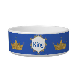 Blue and Gold King Crown Pet Dish