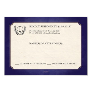 Blue and Gold Law Firm/Law School Graduation RSVP 3.5x5 Paper Invitation Card