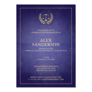 Blue and Gold Law School Graduation 5x7 Paper Invitation Card