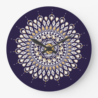 Blue and Gold Lens Mandala Wall Clock