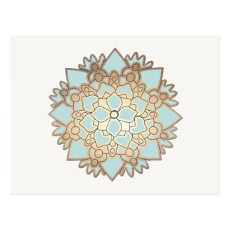 Blue and Gold Lotus Flower Postcard