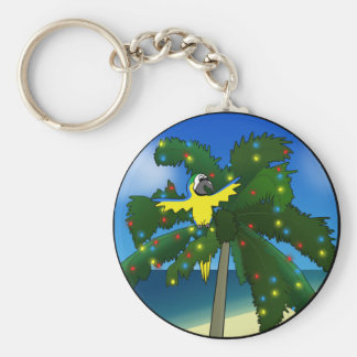 Blue and Gold Macaw Christmas Keychain