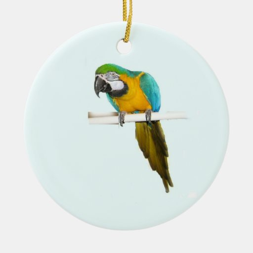 Blue and gold macaw double sided ceramic round christmas for Christmas tree with gold and blue ornaments