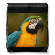 blue and gold macaw drawstring backpack