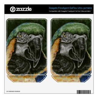 Blue and Gold Macaw Hard Drive Skin FreeAgent GoFlex Decals
