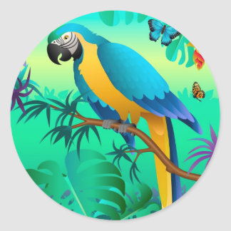 blue and gold macaw in the Amazon Classic Round Sticker