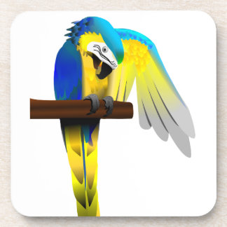 Blue and Gold Macaw Parrot Print Coaster