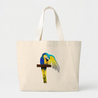Blue and Gold Macaw Parrot Print Large Tote Bag