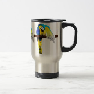 Blue and Gold Macaw Parrot Print Travel Mug