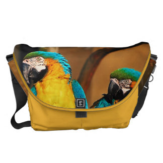 Blue and gold macaw parrots messenger bag