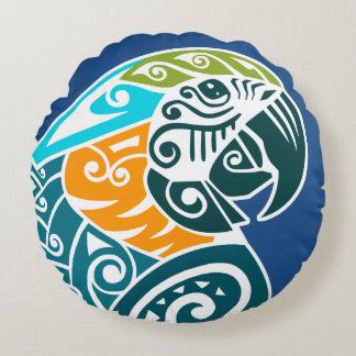 Blue and gold macaw tribal tattoo round pillow