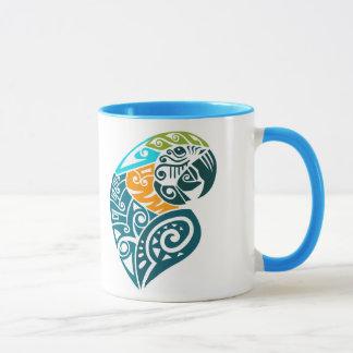 Blue and gold macaw tribal tattoo mug