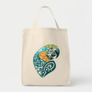 Blue and gold macaw tribal tattoo tote bag