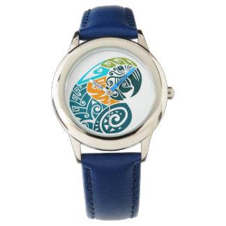 Blue and gold macaw tribal tattoo wrist watch
