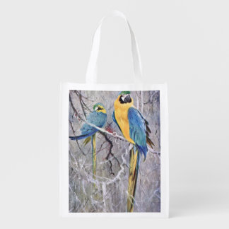 Blue and Gold Macaws Art Reusable Grocery Bag