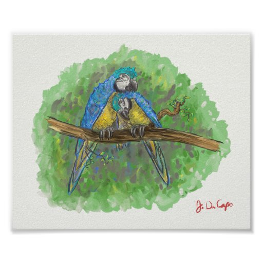 Blue And Gold Macaws In Love Print