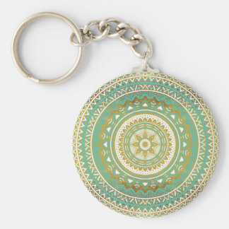 Blue and gold madala keychain