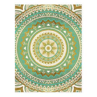 Blue and gold madala postcard
