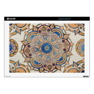 """Blue and gold mandala decals for 17"""" laptops"""