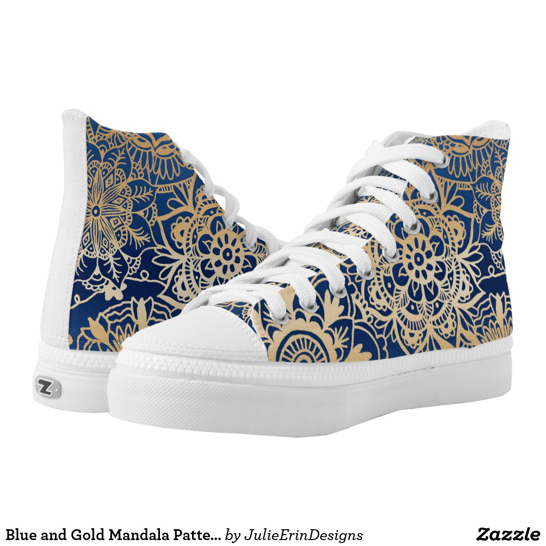 Blue and Gold Mandala Pattern High Top Sneakers