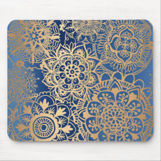 Blue and Gold Mandala Pattern Mousepad