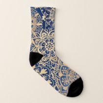 Blue and Gold Mandala Pattern Socks