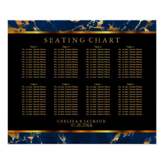 Blue and Gold Marble - 10 Seating Chart