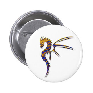 Blue and Gold Metal Dragon Button