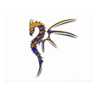 Blue and Gold Metal Dragon Postcard