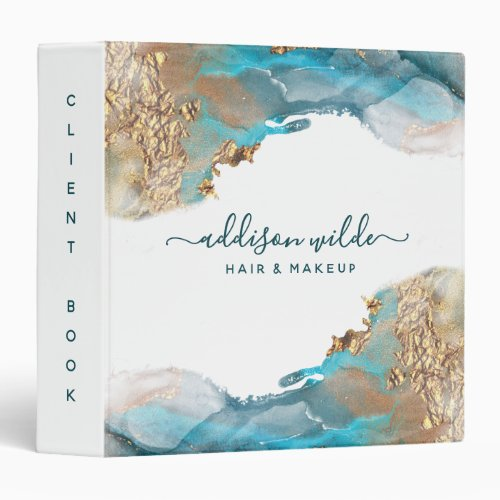 Blue And Gold Modern Art Liquid Watercolor Ink 3 Ring Binder