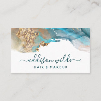 Blue And Gold Modern Art Liquid Watercolor Ink Business Card