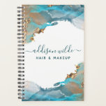 """Blue And Gold Modern Art Liquid Watercolor Ink Planner<br><div class=""""desc"""">Blue And Gold Modern Art Liquid Watercolor Ink Planner. Elegant alcohol ink hand lettered style calligraphy script professional design. Perfect for makeup artists,  hair stylists,  cosmetologists,  and more!</div>"""