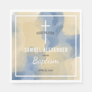Blue and Gold Modern Watercolor Baby Boy Baptism Napkin
