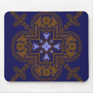 blue and gold mouse pad