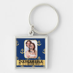 Blue And Gold Nautical Anchor Patterned Keychain at Zazzle