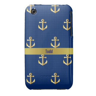 Blue and Gold Nautical iPhone 3 Case