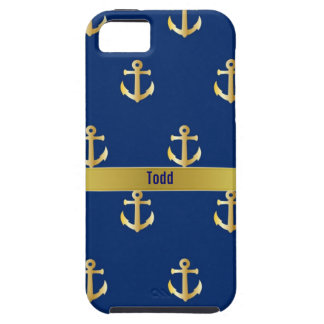 Blue and Gold Nautical iPhone 5 Case