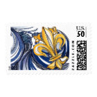 Blue and Gold New Orleans French Fleur de Lis Postage