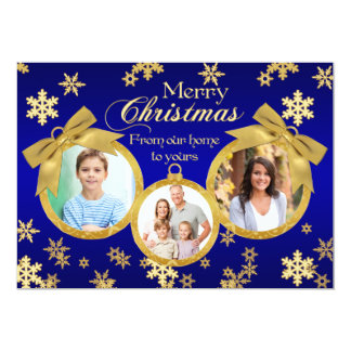 Blue and Gold Ornaments Christmas Photo Card Personalized Invite