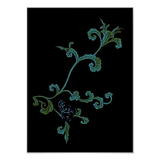 Blue And Gold Ornate Flower Poster