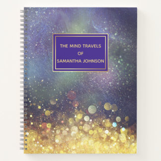 Blue and Gold Outer Space Star Clusters Notebook