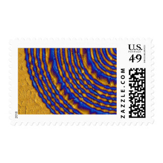 Blue and Gold Paint Spiral Postage Stamp