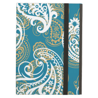 Blue and gold paisley pattern cover for iPad air
