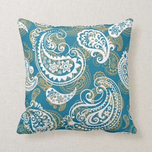 Blue and gold paisley pattern throw pillow zazzle for Blue and gold pillows