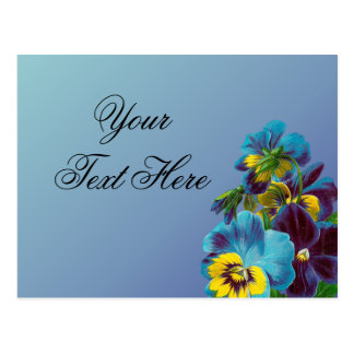 Blue and Gold Pansies on Blue Postcard