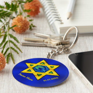 Blue and Gold Personalized Bar Mitzvah Favors Keychain