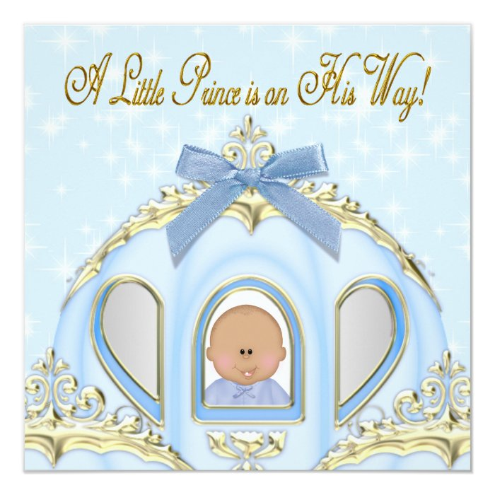 blue and gold prince african american baby shower card zazzle